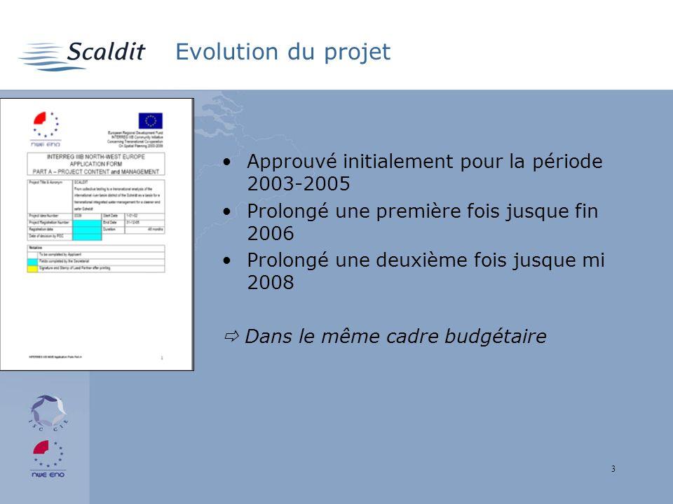 3 Evolution du projet Approuvé initialement pour la période 2003-2005 Prolongé une première fois jusque fin 2006 Prolongé une deuxième fois jusque mi 2008 Dans le même cadre budgétaire