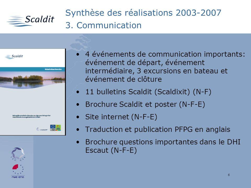 6 Synthèse des réalisations 2003-2007 3.