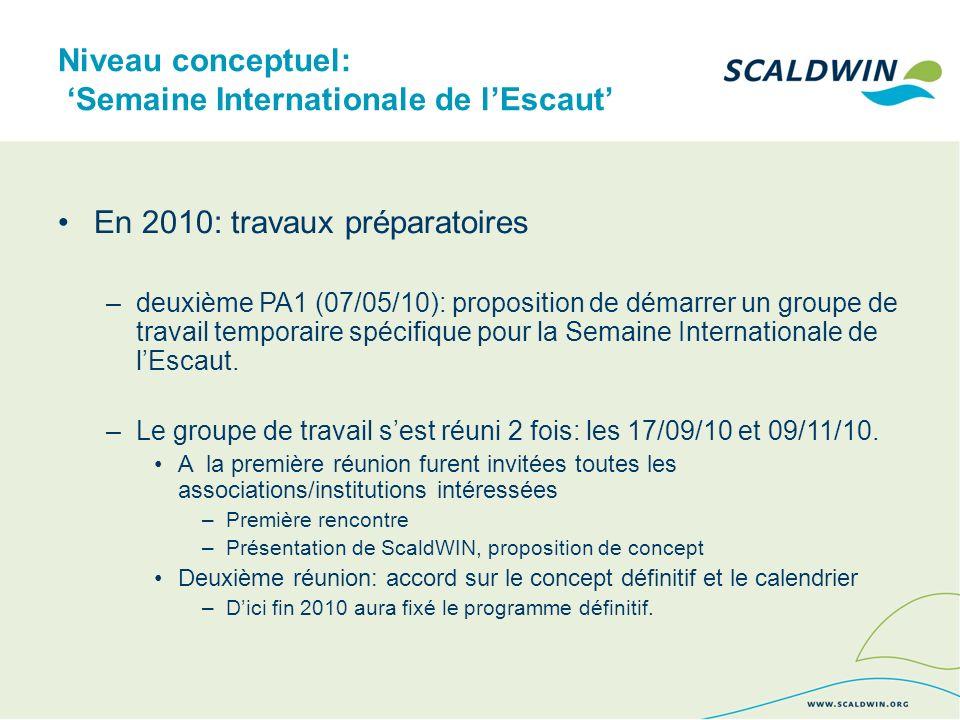 Niveau conceptuel: Semaine Internationale de lEscaut En 2010: travaux préparatoires –deuxième PA1 (07/05/10): proposition de démarrer un groupe de travail temporaire spécifique pour la Semaine Internationale de lEscaut.