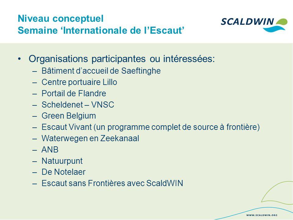 Niveau conceptuel Semaine Internationale de lEscaut Organisations participantes ou intéressées: –Bâtiment daccueil de Saeftinghe –Centre portuaire Lillo –Portail de Flandre –Scheldenet – VNSC –Green Belgium –Escaut Vivant (un programme complet de source à frontière) –Waterwegen en Zeekanaal –ANB –Natuurpunt –De Notelaer –Escaut sans Frontières avec ScaldWIN
