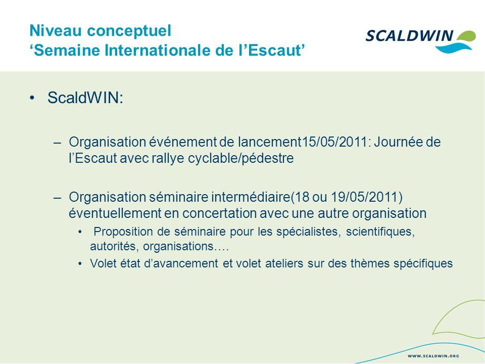 Niveau conceptuel Semaine Internationale de lEscaut ScaldWIN: –Organisation événement de lancement15/05/2011: Journée de lEscaut avec rallye cyclable/