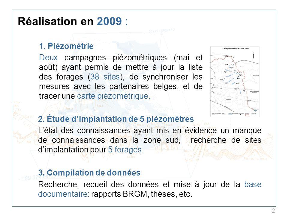 2 Réalisation en 2009 : 1. Piézométrie Deux campagnes piézométriques (mai et août) ayant permis de mettre à jour la liste des forages (38 sites), de s