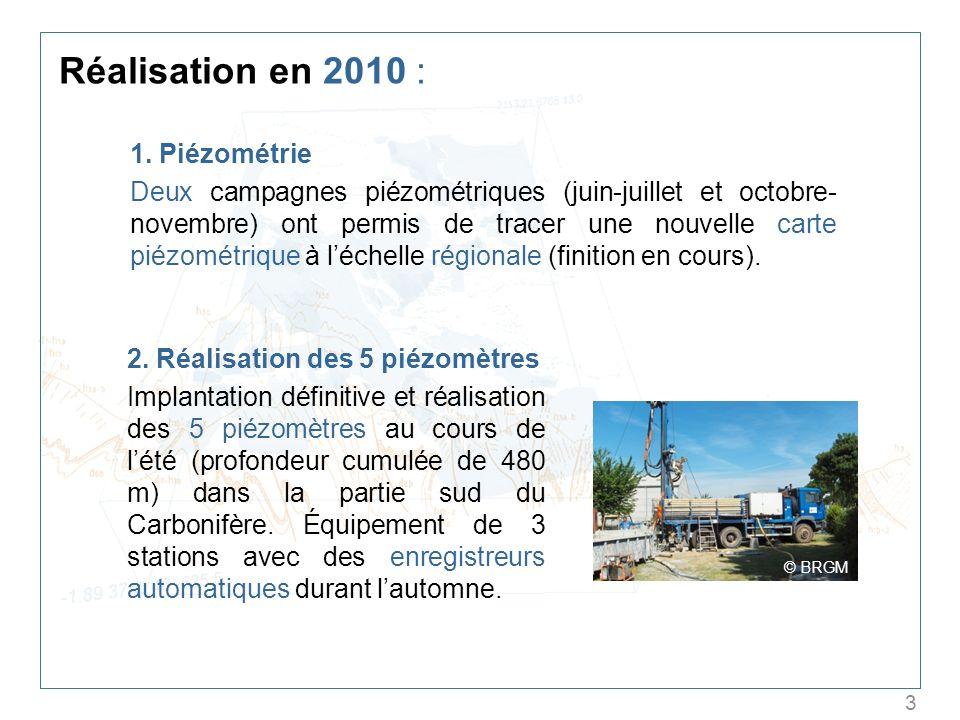 3 Réalisation en 2010 : 1. Piézométrie Deux campagnes piézométriques (juin-juillet et octobre- novembre) ont permis de tracer une nouvelle carte piézo