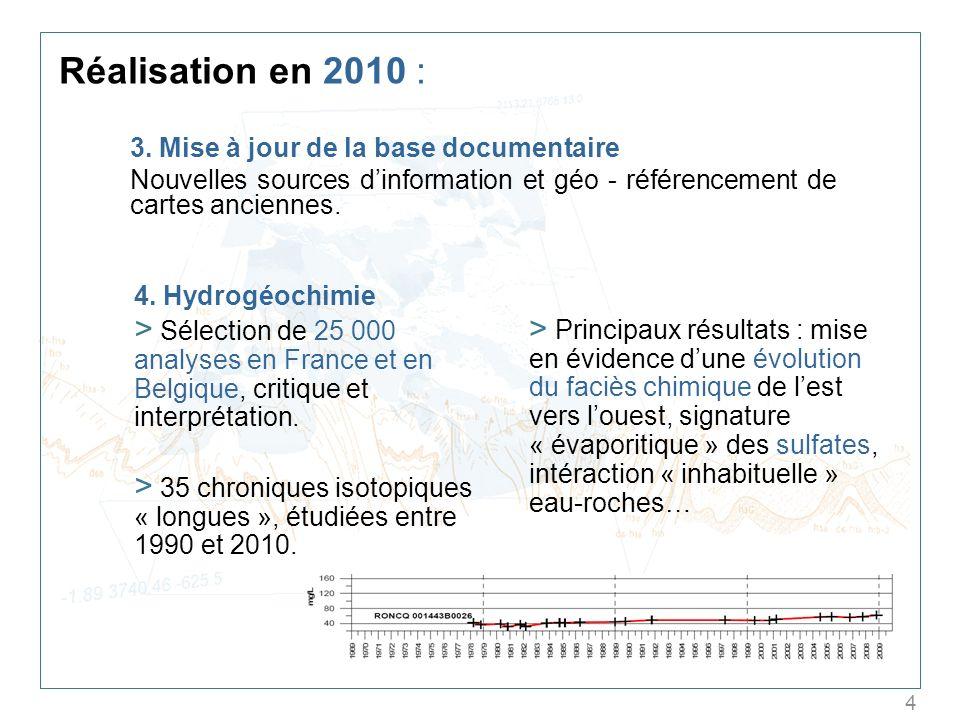 4 Réalisation en 2010 : 3. Mise à jour de la base documentaire Nouvelles sources dinformation et géo - référencement de cartes anciennes. 4. Hydrogéoc