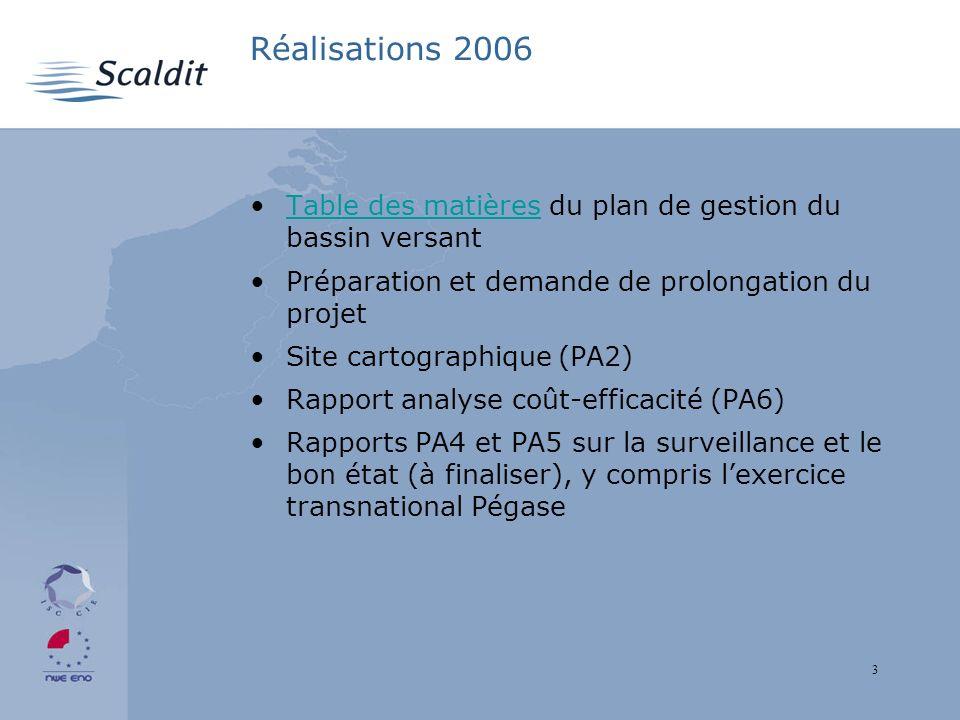 3 Réalisations 2006 Table des matières du plan de gestion du bassin versantTable des matières Préparation et demande de prolongation du projet Site cartographique (PA2) Rapport analyse coût-efficacité (PA6) Rapports PA4 et PA5 sur la surveillance et le bon état (à finaliser), y compris lexercice transnational Pégase