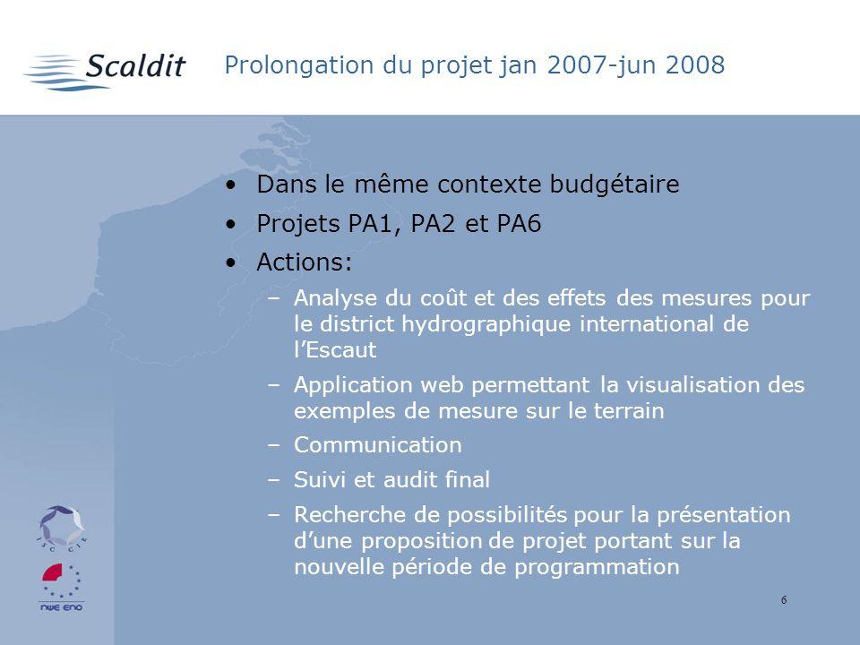 6 Prolongation du projet jan 2007-jun 2008 Dans le même contexte budgétaire Projets PA1, PA2 et PA6 Actions: –Analyse du coût et des effets des mesure