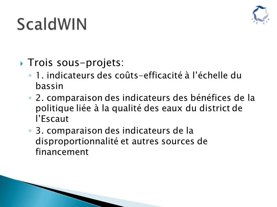 Trois sous-projets: 1. indicateurs des coûts-efficacité à léchelle du bassin 2.