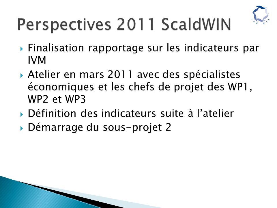 Finalisation rapportage sur les indicateurs par IVM Atelier en mars 2011 avec des spécialistes économiques et les chefs de projet des WP1, WP2 et WP3 Définition des indicateurs suite à latelier Démarrage du sous-projet 2