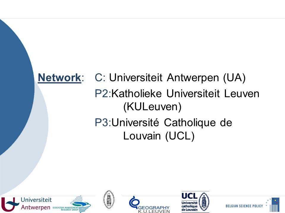 Network: C: Universiteit Antwerpen (UA) P2:Katholieke Universiteit Leuven (KULeuven) P3:Université Catholique de Louvain (UCL)