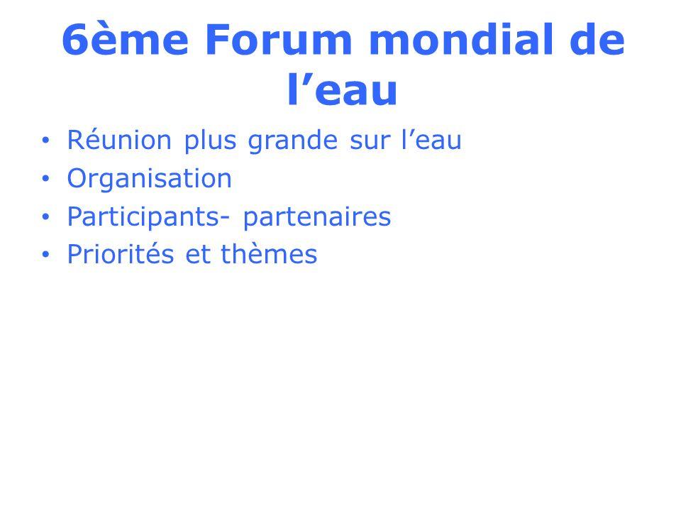 6ème Forum mondial de leau Réunion plus grande sur leau Organisation Participants- partenaires Priorités et thèmes