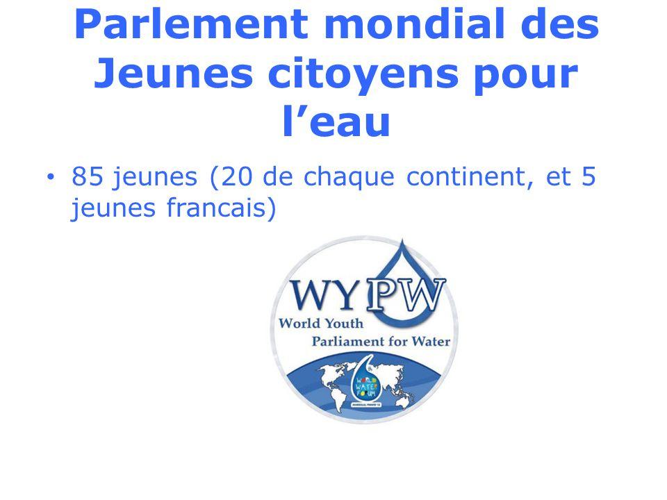 Parlement mondial des Jeunes citoyens pour leau 85 jeunes (20 de chaque continent, et 5 jeunes francais)