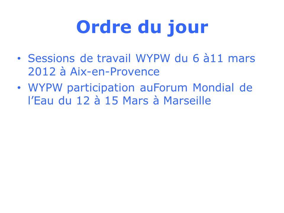 Ordre du jour Sessions de travail WYPW du 6 à11 mars 2012 à Aix-en-Provence WYPW participation auForum Mondial de lEau du 12 à 15 Mars à Marseille