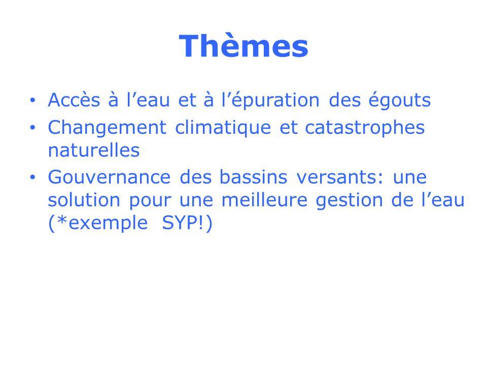 Thèmes Accès à leau et à lépuration des égouts Changement climatique et catastrophes naturelles Gouvernance des bassins versants: une solution pour une meilleure gestion de leau (*exemple SYP!)
