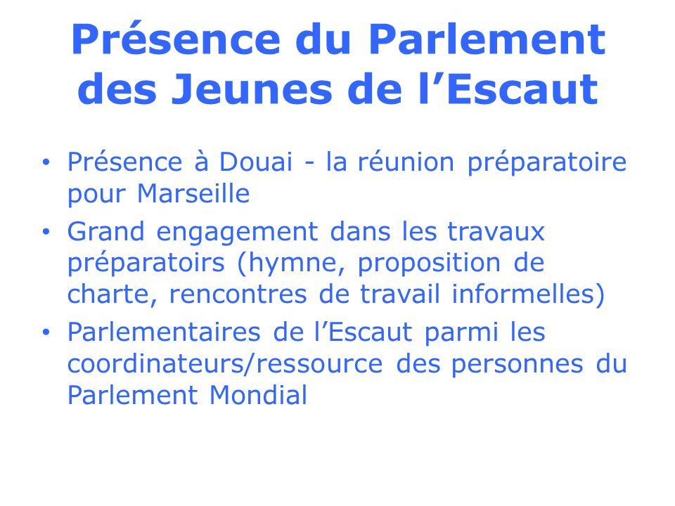 Présence du Parlement des Jeunes de lEscaut Présence à Douai - la réunion préparatoire pour Marseille Grand engagement dans les travaux préparatoirs (