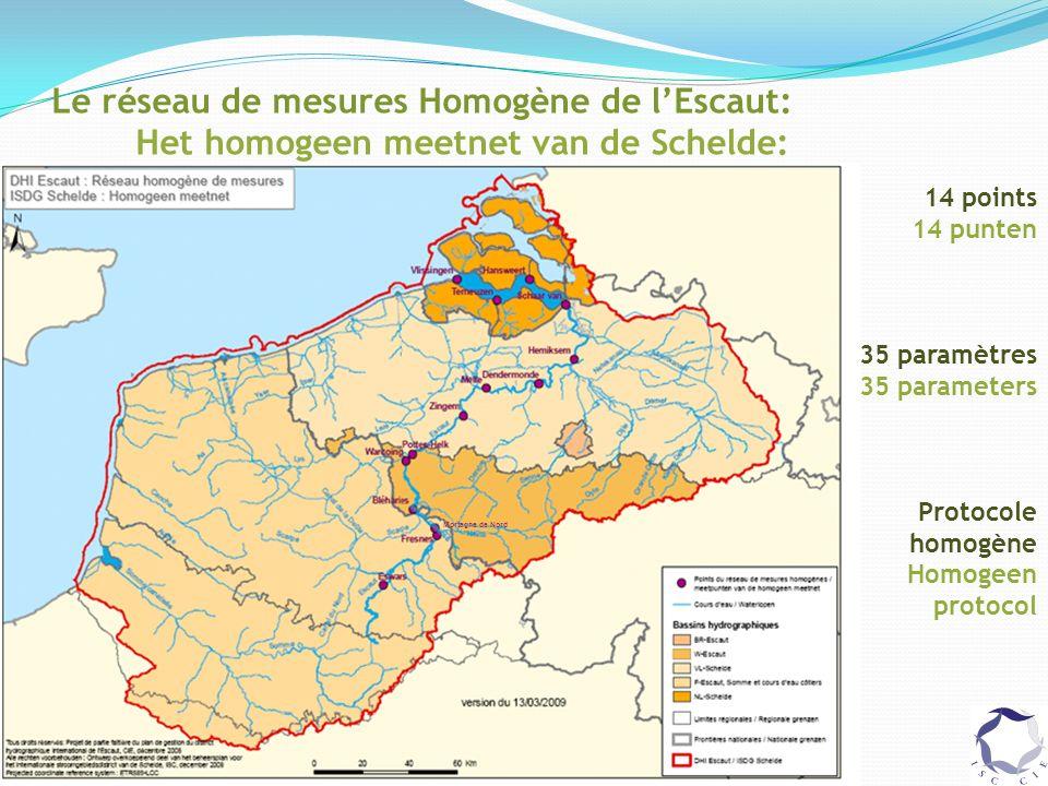 Le réseau de mesures Homogène de lEscaut: Het homogeen meetnet van de Schelde: 14 points 14 punten 35 paramètres 35 parameters Protocole homogène Homogeen protocol Mortagne de Nord