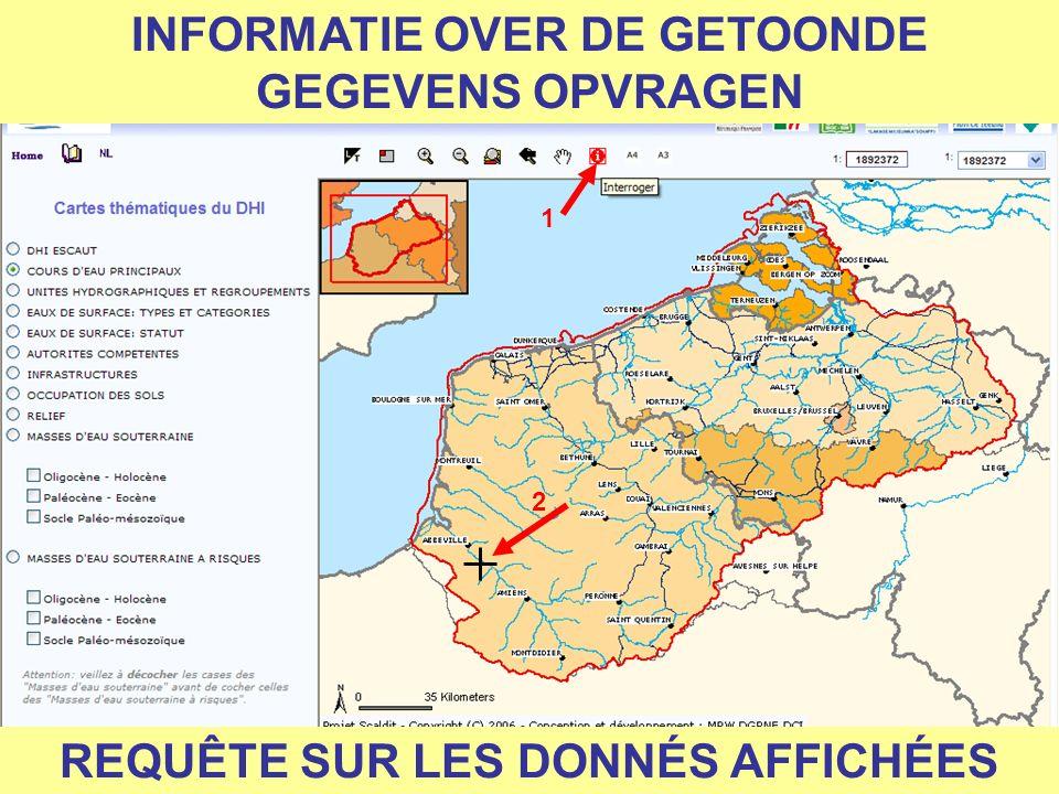 INFORMATIE OVER DE GETOONDE GEGEVENS OPVRAGEN 1 2 REQUÊTE SUR LES DONNÉS AFFICHÉES