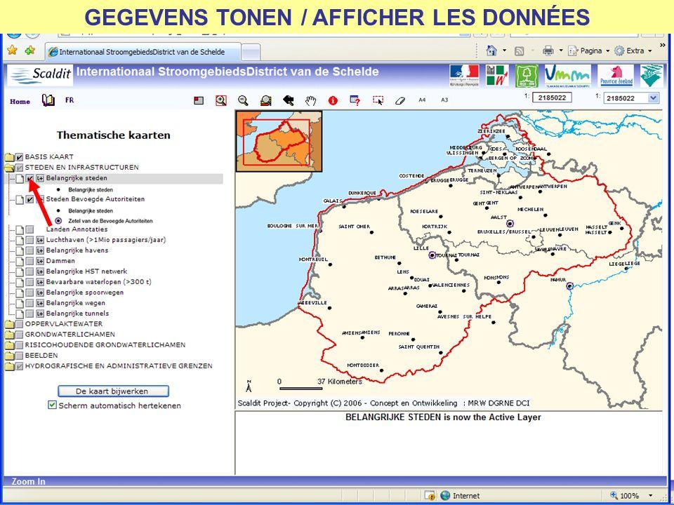 GEGEVENS TONEN / AFFICHER LES DONNÉES