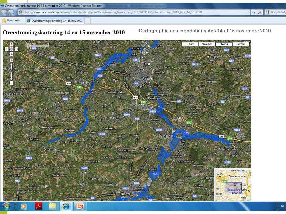 Cartographie des inondations des 14 et 15 novembre 2010