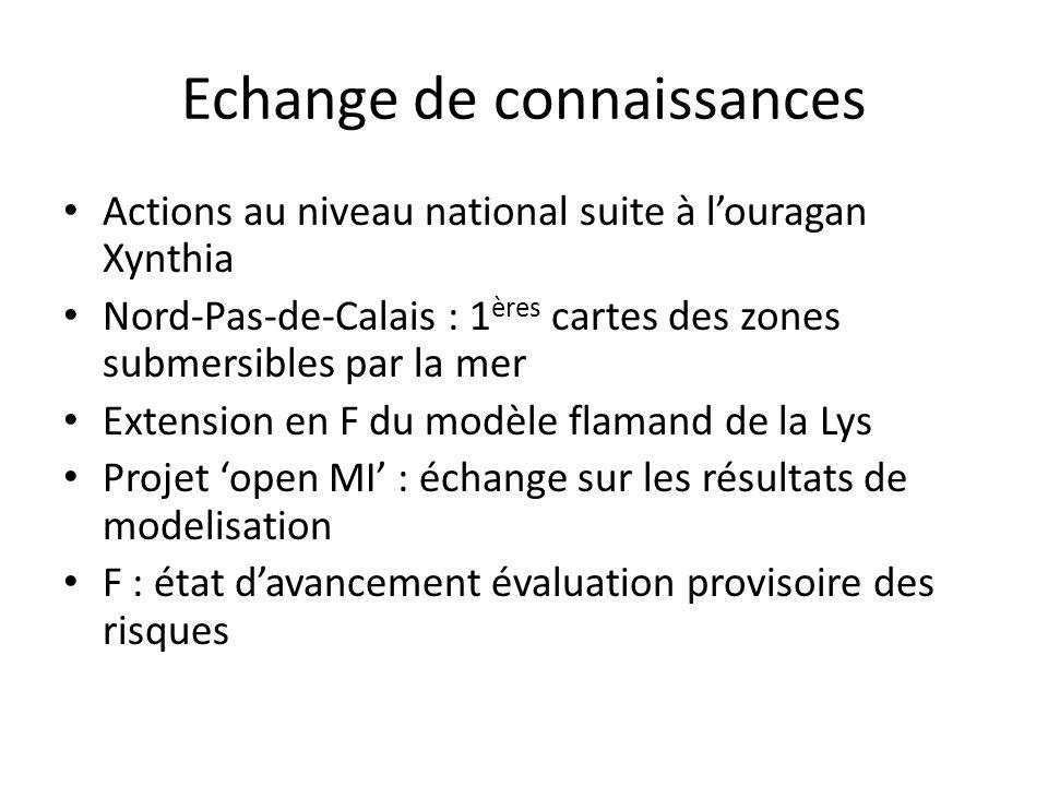 Echange de connaissances Actions au niveau national suite à louragan Xynthia Nord-Pas-de-Calais : 1 ères cartes des zones submersibles par la mer Exte