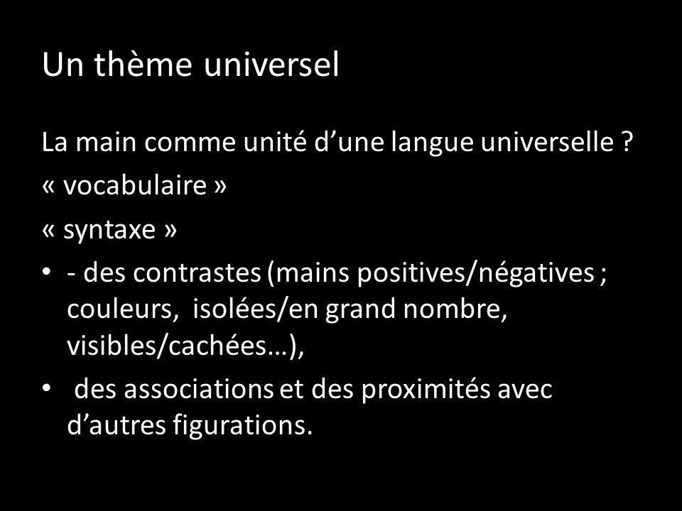 Un thème universel La main comme unité dune langue universelle ? « vocabulaire » « syntaxe » - des contrastes (mains positives/négatives ; couleurs, i