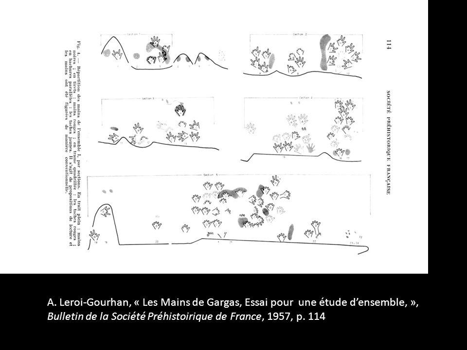 A. Leroi-Gourhan, « Les Mains de Gargas, Essai pour une étude densemble, », Bulletin de la Société Préhistoirique de France, 1957, p. 114