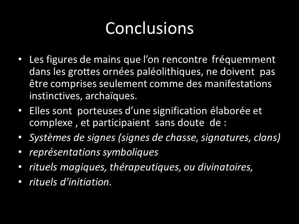 Conclusions Les figures de mains que lon rencontre fréquemment dans les grottes ornées paléolithiques, ne doivent pas être comprises seulement comme d