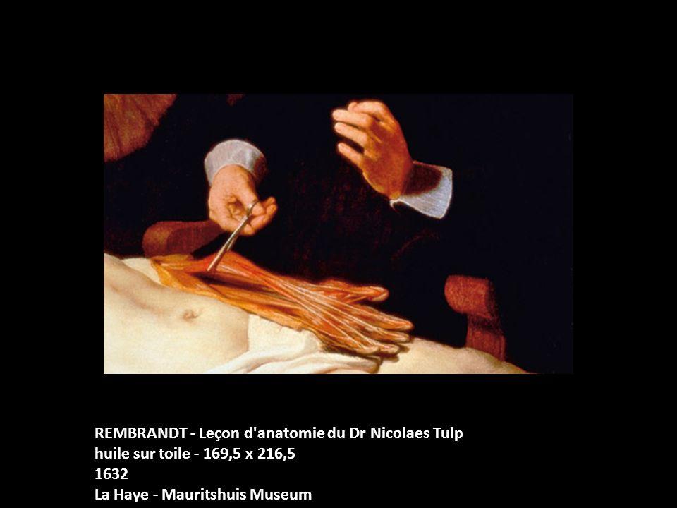 REMBRANDT - Leçon d'anatomie du Dr Nicolaes Tulp huile sur toile - 169,5 x 216,5 1632 La Haye - Mauritshuis Museum