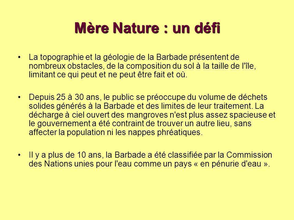 Mère Nature : un défi La topographie et la géologie de la Barbade présentent de nombreux obstacles, de la composition du sol à la taille de l île, limitant ce qui peut et ne peut être fait et où.