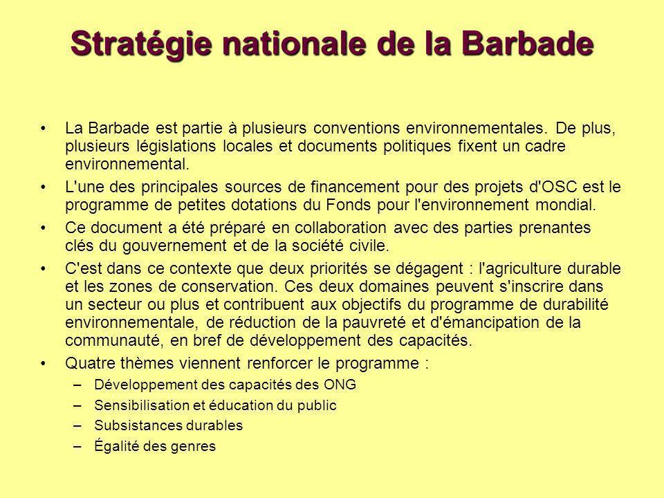 Stratégie nationale de la Barbade La Barbade est partie à plusieurs conventions environnementales.