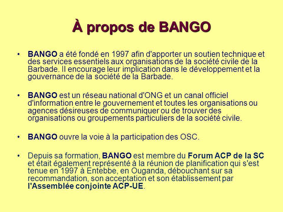 À propos de BANGO BANGO a été fondé en 1997 afin d apporter un soutien technique et des services essentiels aux organisations de la société civile de la Barbade.