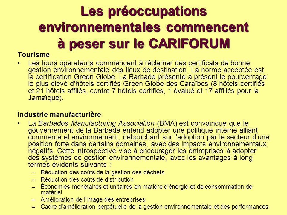 Les préoccupations environnementales commencent à peser sur le CARIFORUM Tourisme Les tours operateurs commencent à réclamer des certificats de bonne gestion environnementale des lieux de destination.