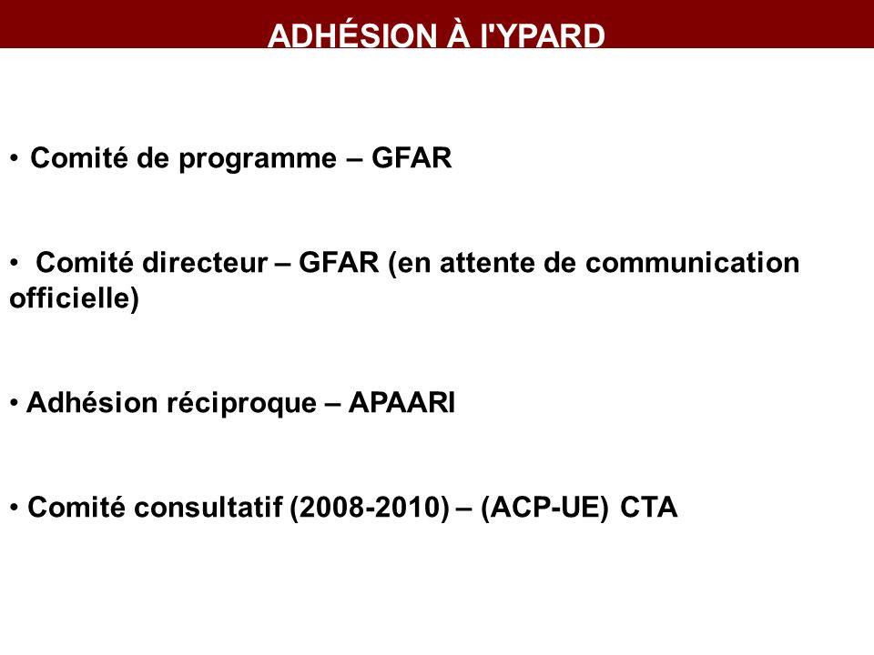 ADHÉSION À l YPARD Comité de programme – GFAR Comité directeur – GFAR (en attente de communication officielle) Adhésion réciproque – APAARI Comité consultatif (2008-2010) – (ACP-UE) CTA