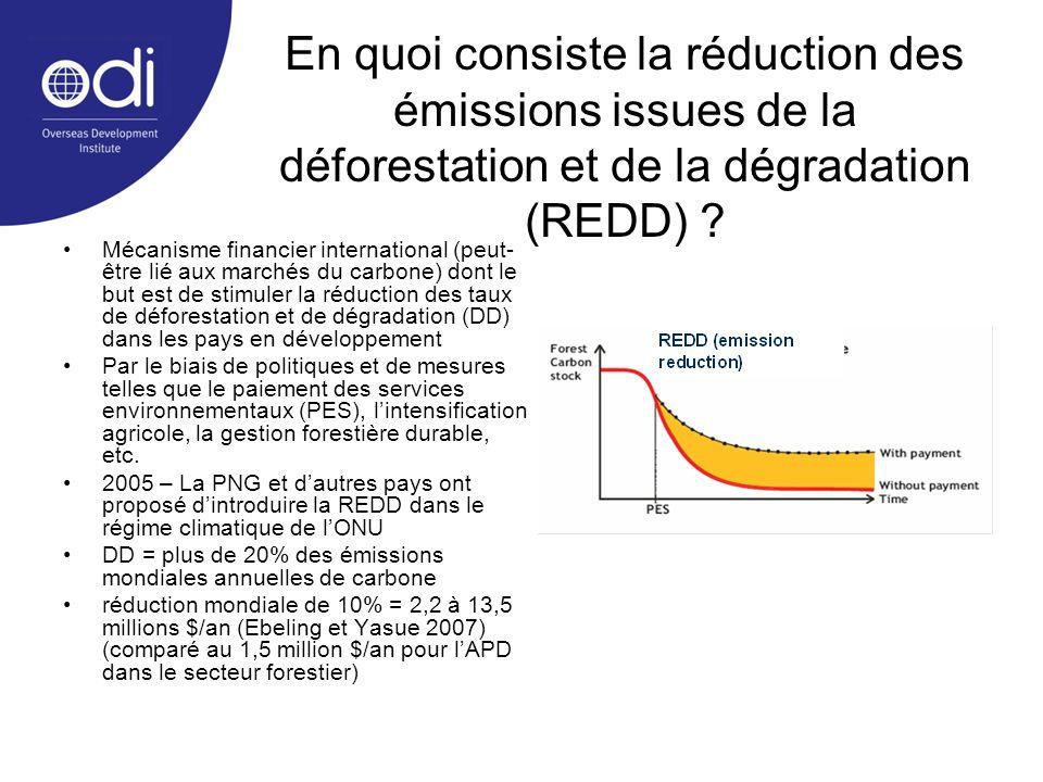 En quoi consiste la réduction des émissions issues de la déforestation et de la dégradation (REDD) ? Mécanisme financier international (peut- être lié