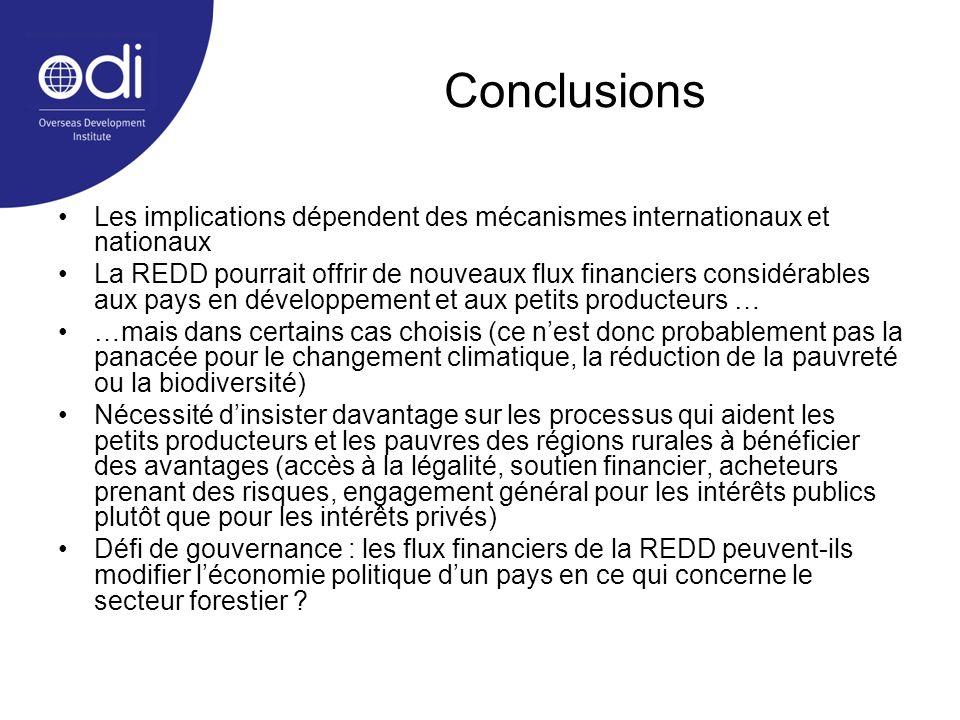 Conclusions Les implications dépendent des mécanismes internationaux et nationaux La REDD pourrait offrir de nouveaux flux financiers considérables au