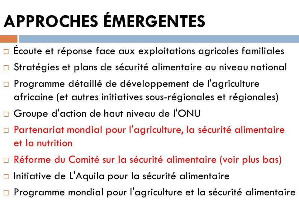 APPROCHES ÉMERGENTES Écoute et réponse face aux exploitations agricoles familiales Stratégies et plans de sécurité alimentaire au niveau national Prog