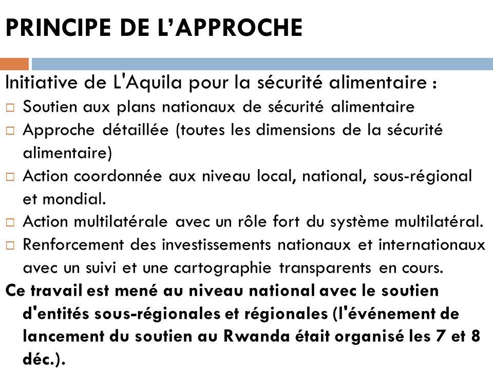 PRINCIPE DE LAPPROCHE Initiative de L'Aquila pour la sécurité alimentaire : Soutien aux plans nationaux de sécurité alimentaire Approche détaillée (to