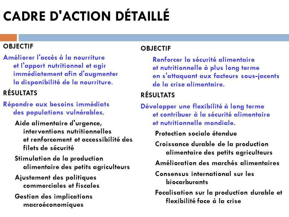 CADRE D'ACTION DÉTAILLÉ OBJECTIF Améliorer l'accès à la nourriture et l'apport nutritionnel et agir immédiatement afin d'augmenter la disponibilité de