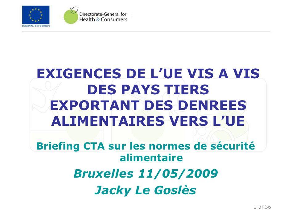 2 of 36 Questions abordées dans la présentation Accord SPS et équivalence Exigences vis-à-vis des pays tiers exportant des denrées alimentaires vers lUE Composantes clés dun système de contrôle des résidus Contrôles des importations Inspections FVO Programme BTFS