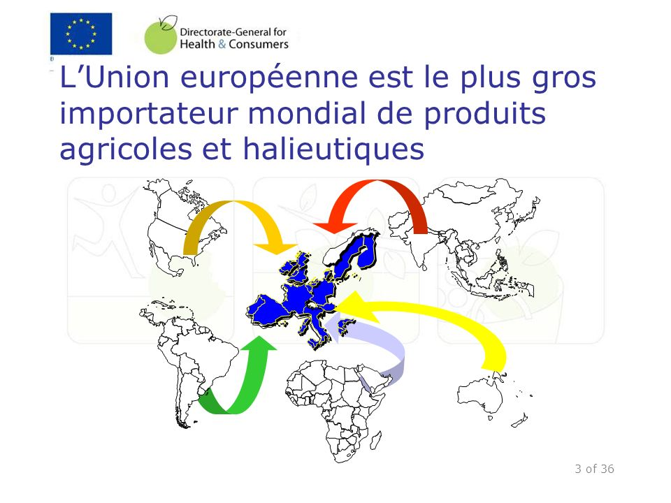 3 of 36 LUnion européenne est le plus gros importateur mondial de produits agricoles et halieutiques