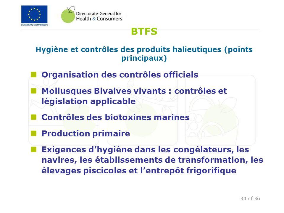 34 of 36 BTFS Hygiène et contrôles des produits halieutiques (points principaux) Organisation des contrôles officiels Mollusques Bivalves vivants : co