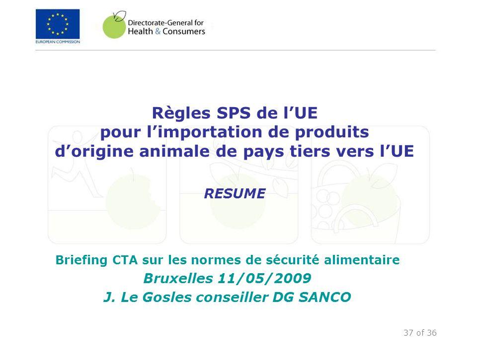 37 of 36 Règles SPS de lUE pour limportation de produits dorigine animale de pays tiers vers lUE RESUME Briefing CTA sur les normes de sécurité alimen