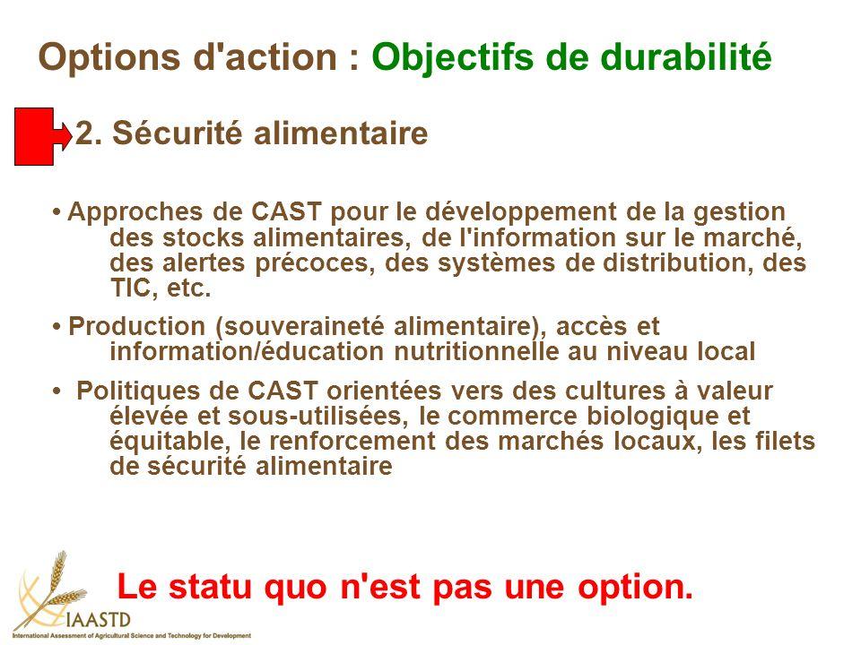 Approches de CAST pour le développement de la gestion des stocks alimentaires, de l'information sur le marché, des alertes précoces, des systèmes de d