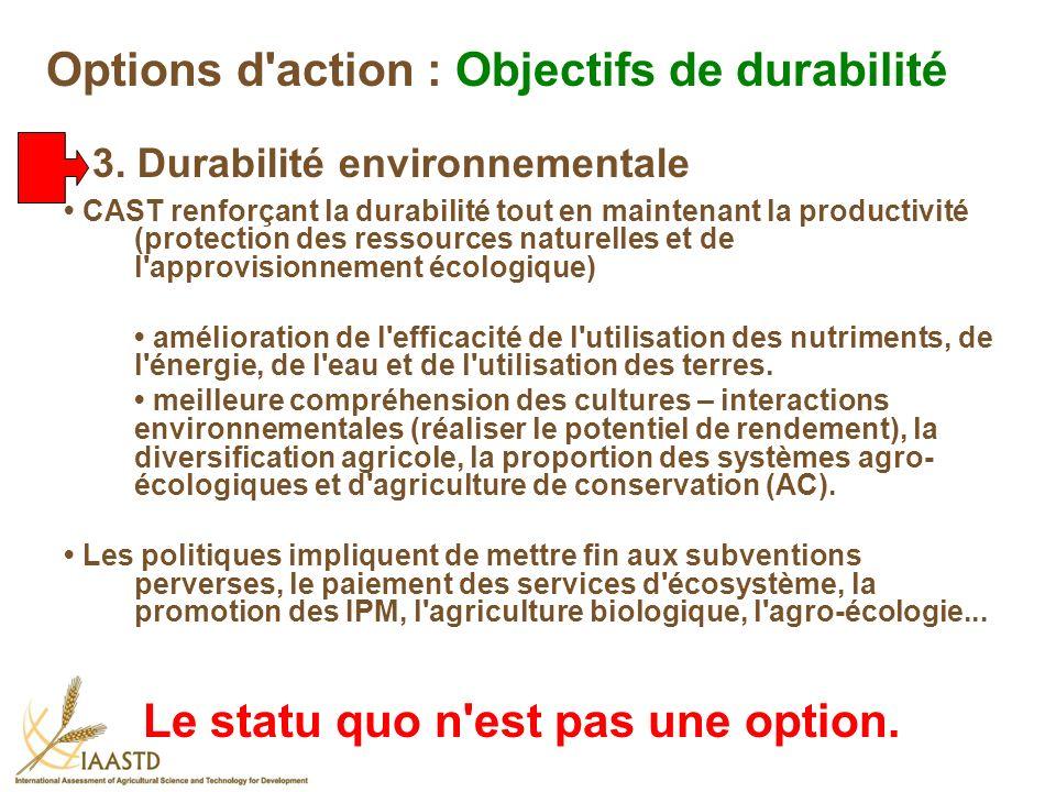CAST renforçant la durabilité tout en maintenant la productivité (protection des ressources naturelles et de l'approvisionnement écologique) améliorat