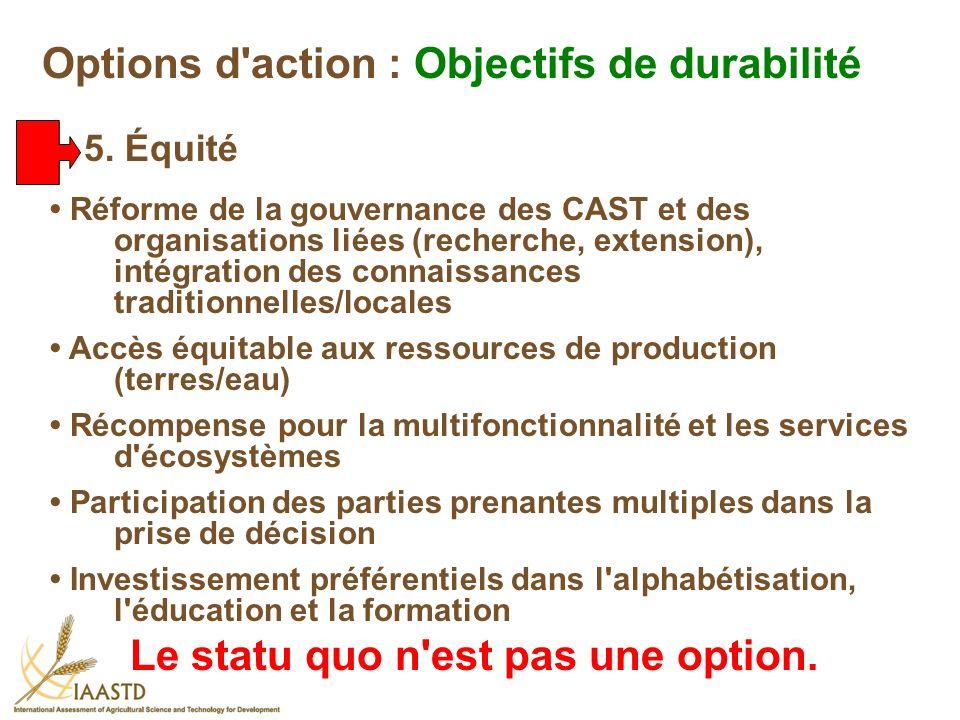 Réforme de la gouvernance des CAST et des organisations liées (recherche, extension), intégration des connaissances traditionnelles/locales Accès équi