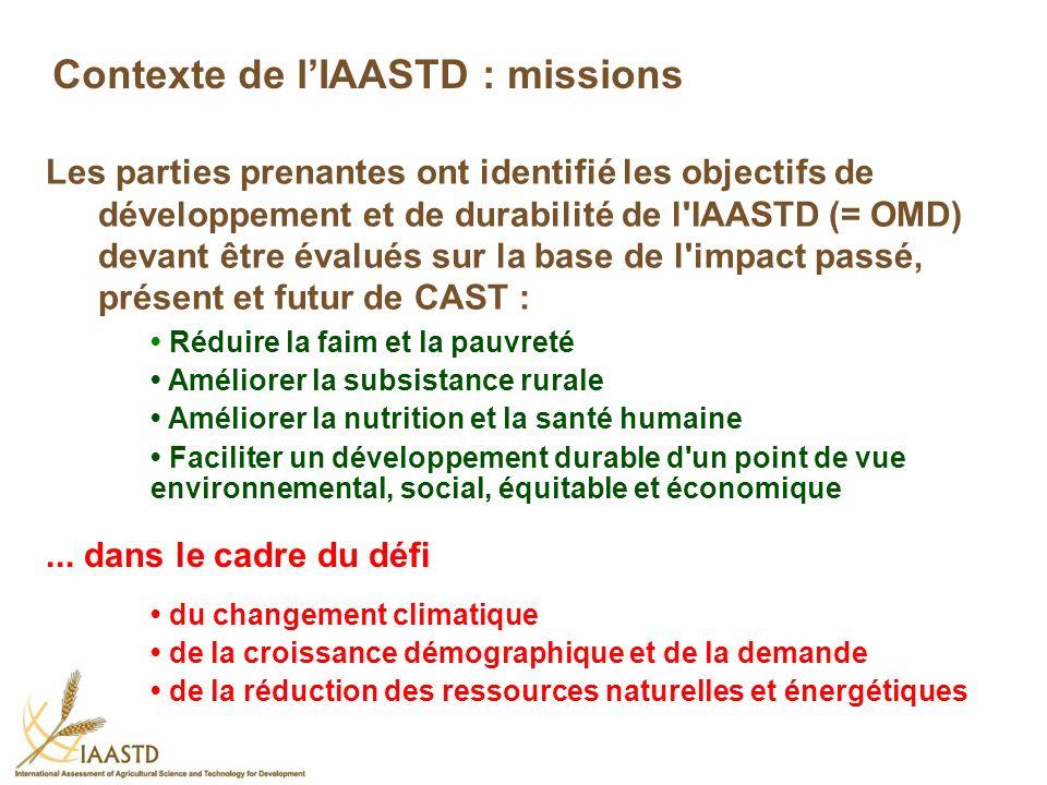 Les parties prenantes ont identifié les objectifs de développement et de durabilité de l'IAASTD (= OMD) devant être évalués sur la base de l'impact pa