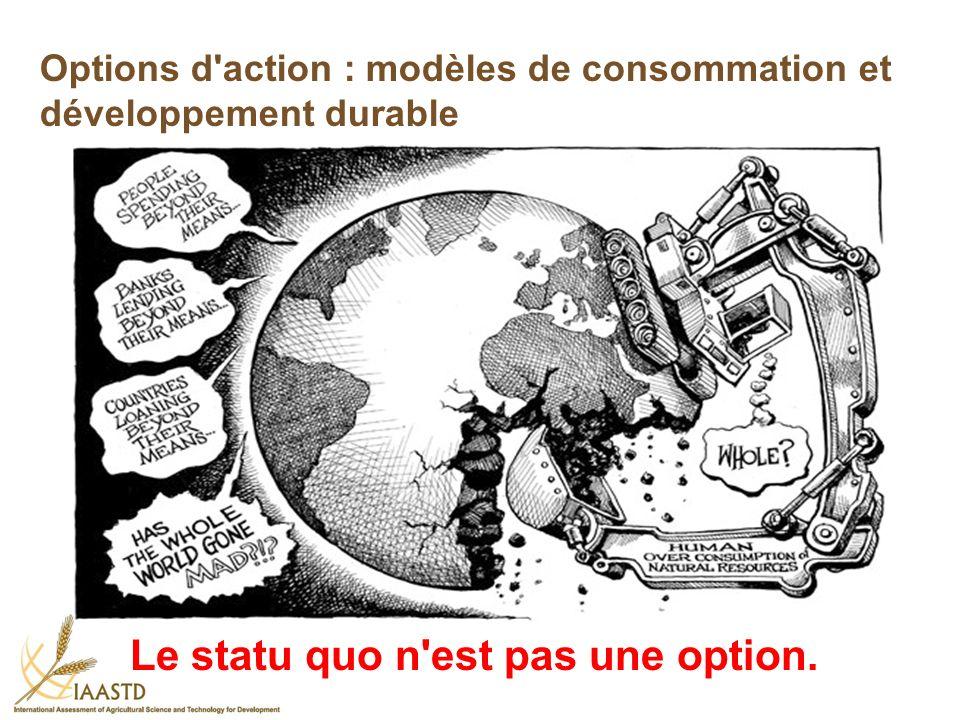 Options d'action : modèles de consommation et développement durable Le statu quo n'est pas une option.