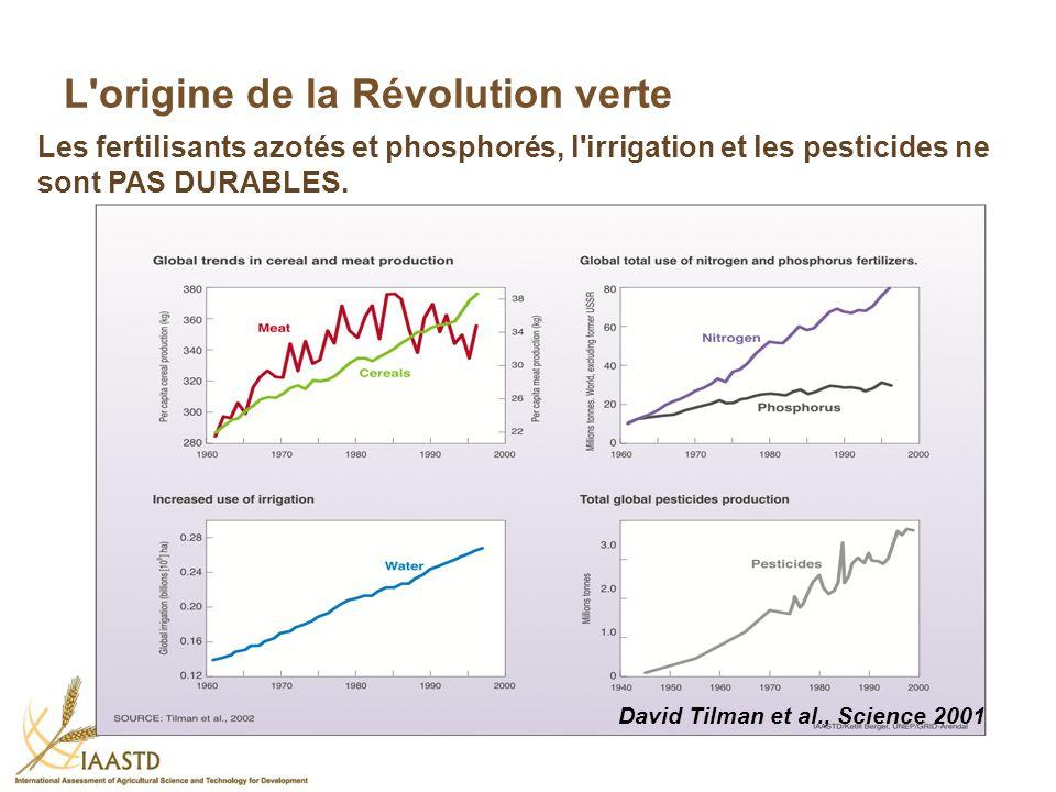 L'origine de la Révolution verte Les fertilisants azotés et phosphorés, l'irrigation et les pesticides ne sont PAS DURABLES. David Tilman et al., Scie
