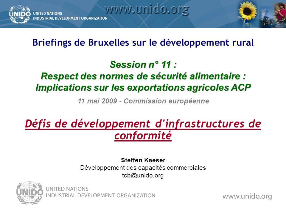 Steffen Kaeser Développement des capacités commerciales tcb@unido.org 11 mai 2009 - Commission européenne Session n° 11 : Respect des normes de sécurité alimentaire : Implications sur les exportations agricoles ACP Défis de développement d infrastructures de conformité Briefings de Bruxelles sur le développement rural