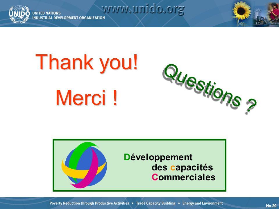 No.20 Questions Questions Merci ! Développement des capacités Commerciales Thank you!
