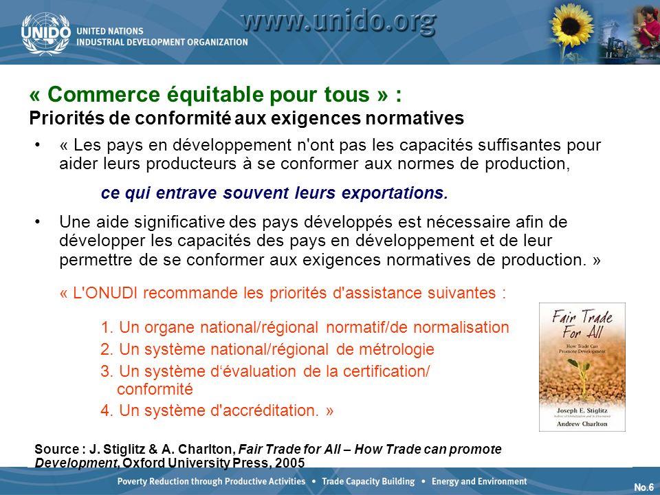 No.6 « Commerce équitable pour tous » : Priorités de conformité aux exigences normatives production « Les pays en développement n ont pas les capacités suffisantes pour aider leurs producteurs à se conformer aux normes de production, ce qui entrave souvent leurs exportations.